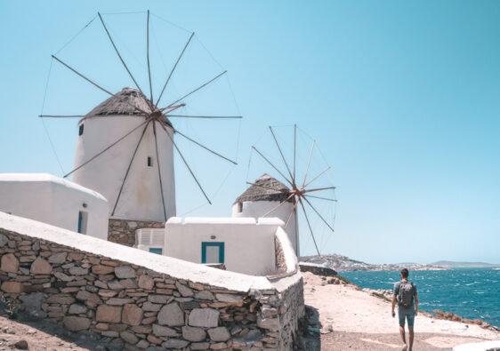 La colline des moulins à Mykonos