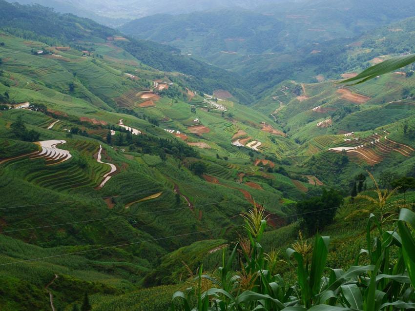 Paysage montagneux du nord du vietnam